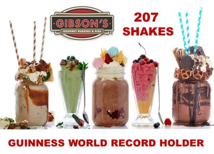 GIBSON'S GOURMET BURGERS & RIBS SET A GUINNESS WORLD RECORDFor the Most Varieties of Milkshakes Commercially Available pic no 2